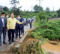 김준성 군수, 장마철 집중호우 피해현장 복구에 나서